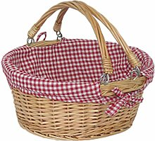 Red Hamper Wicker Shopping Basket, Brown, Rose