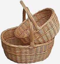 Red Hamper Willow Wicker Shopping Basket Buff Oval