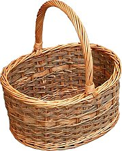 Red Hamper Yorkshire Oval Shopping Basket, Wicker,
