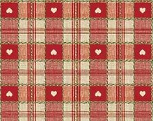 Red Hearth Check PVC Vinyl Wipe Clean Tablecloth