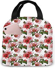 Red Hibiscus Flowers Ladybird76 Portable Lunch