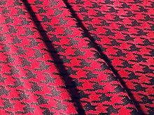 Red Houndstooth Chenille Fabric Jacquard Gobelin