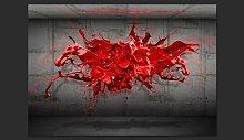 Red Ink Blot 210cm x 300cm Wallpaper Brayden Studio