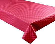 Red Jacquard Check Acrylic Coated Tablecloth,