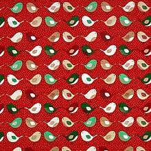 Red Kissing Robins Christmas Oilcloth Wipe Clean
