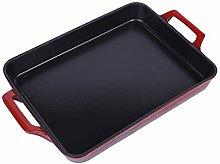 Red large cast iron square frying pan, enamel
