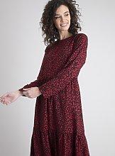 Red Leopard Print Tiered Dress - 16