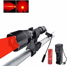 Red Light LED Torch Flashlight, Rechargeable 500