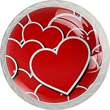 Red Love Hearts Pattern, Modern Minimalist