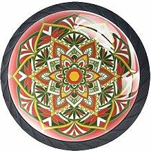 Red Mandala Pattern Crystal Door Knobs Glass