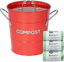 Red Metal Kitchen Compost Caddy & 150x 6L