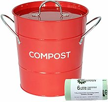 Red Metal Kitchen Compost Caddy & 50x 6L All-Green