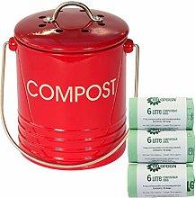 Red Metal Mini Kitchen Compost Caddy & 150x