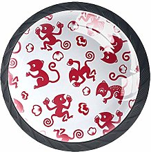 Red Monkey Crystal Drawer Handles Furniture Glass