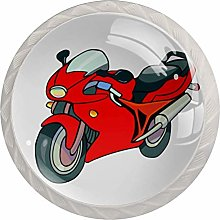 Red Motorcycle White Crystal Drawer Handles