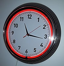 RED NEON CLOCK WITH CHROME TRIM - Real Neon (not