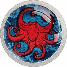 Red Octopus 4PCS Drawer Knobs,Cabinet Knobs,Drawer