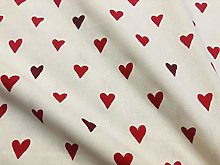 Red on Off-White Love Hearts Christmas Canvas