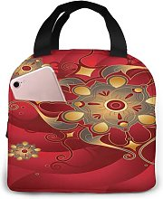 Red Oriental Gold 46 Portable Lunch Tote Bag Lunch