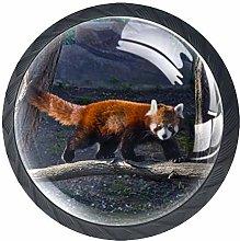 Red Panda Nature Crystal Drawer Handles Furniture