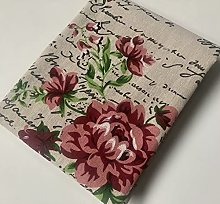 Red Peony Love Letter Cotton Linen Blend Fabric