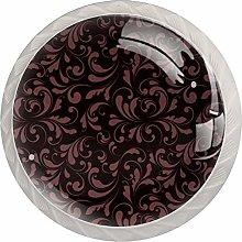 Red Petals 4 Pieces Crystal Glass Wardrobe Handles