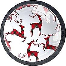 Red Plaid Deer, Modern Minimalist Printing