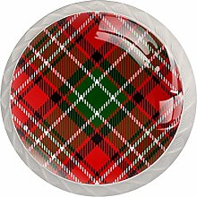 Red Plaid Drawer Round Knobs Cabinet Pull Handles