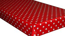 Red Polka Dot PVC Vinyl Wipe Clean Tablecloth