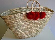 Red Pom Pom Moroccan Market Shopping Basket - Rope