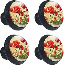 Red Poppies Flowers Cabinet Door Knobs Handles