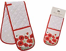 Red Poppy Double Oven Gloves
