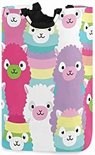 Red Purple Funny Sheep Laundry Hamper Basket Large