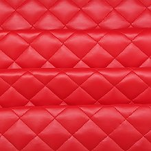 Red Quilted Leather Diamond Stitch Padded Cushion