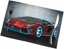 Red Race Car Print Washable Placemats 6 Sets, Heat