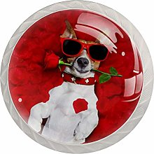 Red Rose Dog 4 Pieces Crystal Glass Wardrobe