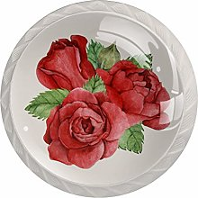 Red Rose Drawer Round Knobs Cabinet Pull Handles
