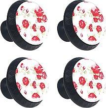 Red Rose Flower 4PCS Cabinet Knobs, Round Drawer
