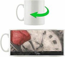 Red Rose on Antique Clock Coffee Mug East Urban