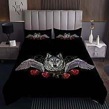 Red Rose Quilted Coverlet Wolf Bedspread Safari