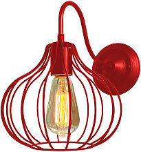 Red Round Cage Industrial Style Chandelier Lamp