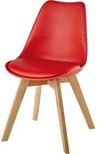Red Scandinavian Chair with Solid Oak Ice
