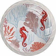 Red Seahorse Coral White Crystal Drawer Handles