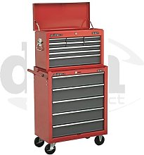Red Sealey 14 Drawer Top Chest Box Roller Roll