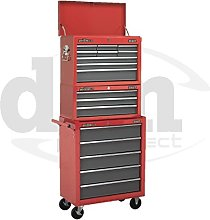 Red Sealey 17 Drawer Top Chest Box Roller Roll
