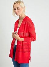 Red Sheer Stripe Cardigan - 10