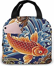 Red Squid Picking Up Waves Insulated Lunch Bag