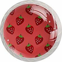 Red Strawberry 4 Pieces Crystal Glass Wardrobe
