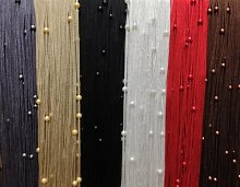 RED STRING CURTAIN with BEADS Door Curtain