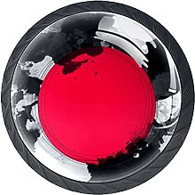 Red Sun with Ink 4 Pcs Glass Cabinet Knobs Drawer